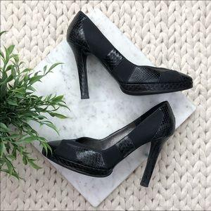 Chanel Black Snakeskin Platform Pumps Heels